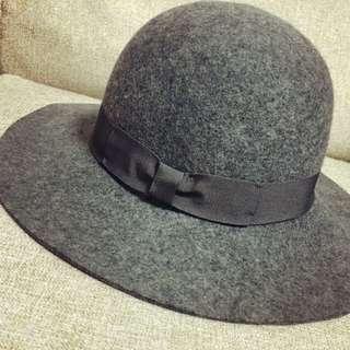 全新🎩灰色歐美蝴蝶結大圓帽