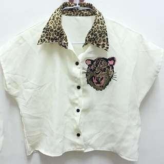 雪紡短版豹紋領襯衫