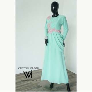 mint green dress complete with man suit