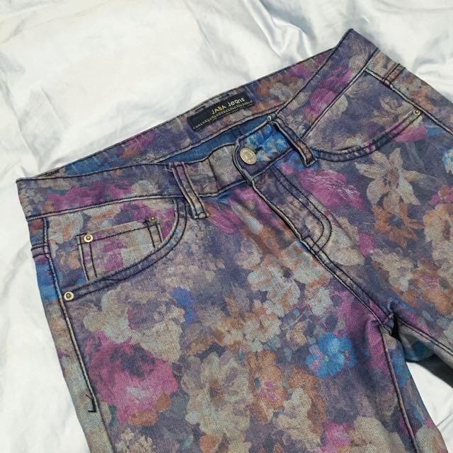 美~韓組印花窄管牛仔褲