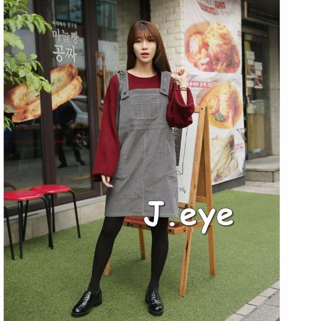 【預購】韓國復古燈芯絨吊帶裙多口袋學院風萌系連衣裙可愛吊帶裙