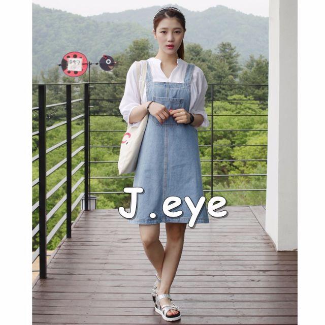 【獨家預購】韓國春季新款復古中長款吊帶裙學院風牛仔大口袋