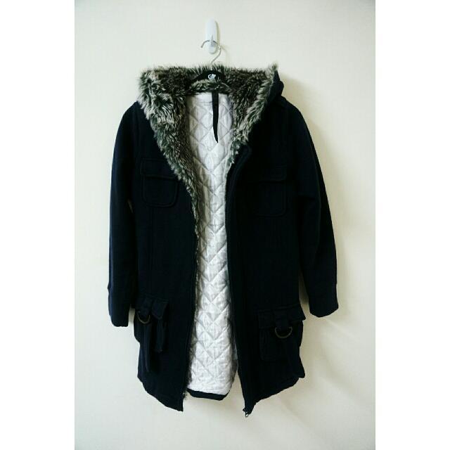 韓長版內舖棉外套