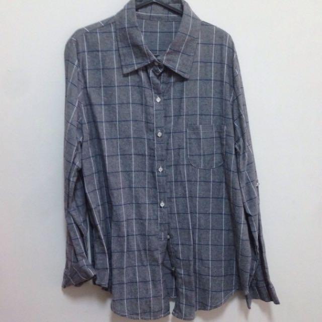 全新✨灰色格子襯衫
