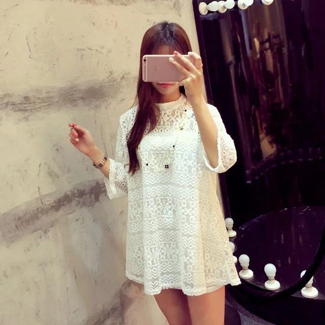 ✨現貨✨韓國中袖寬松蕾絲連衣裙吊帶兩件套