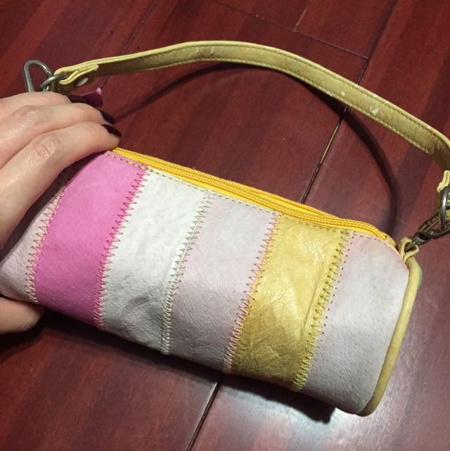拼布圓筒手提包