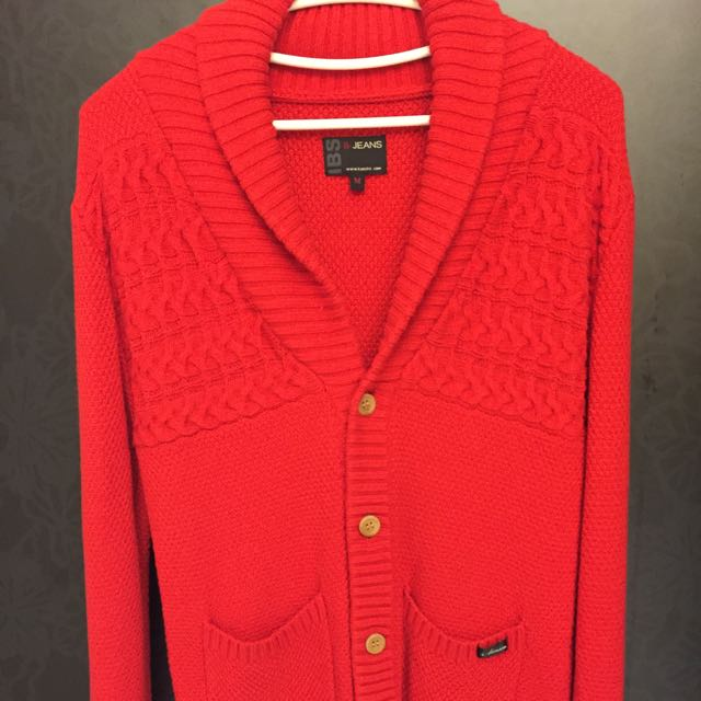 紅色 針織毛外套