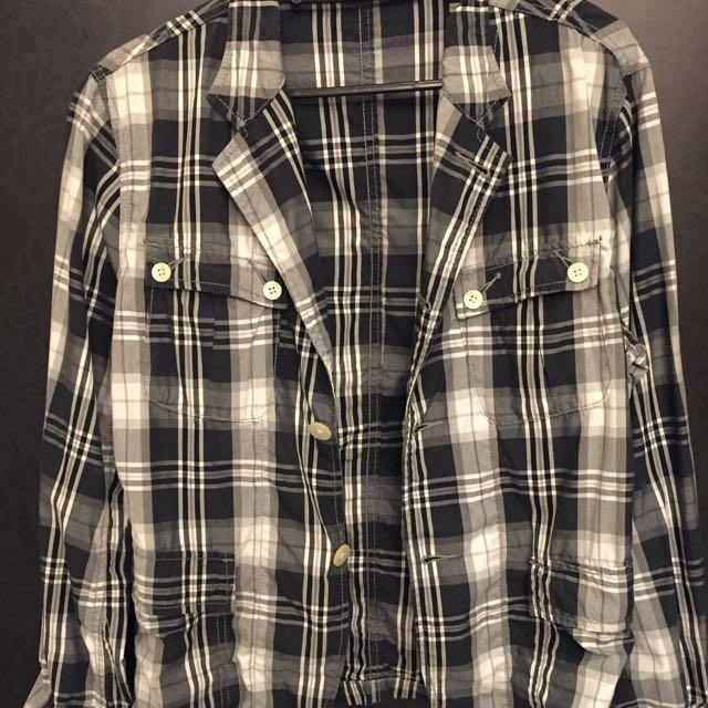 格紋灰 襯衫 薄外套