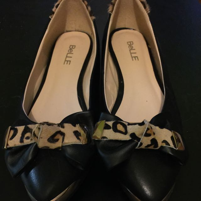 Brand New Black Leather/leopard Flats Size 8