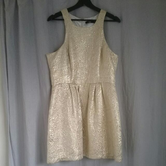 Embossed Gold Cocktail Dress, Size 16