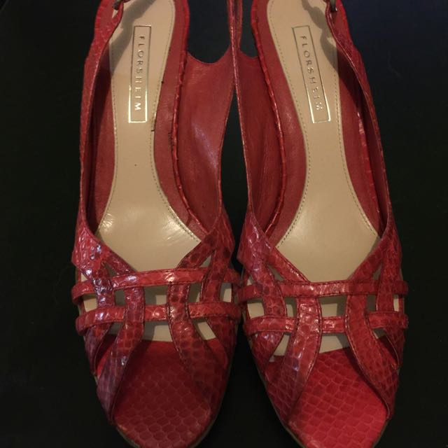 Florsheim Red Leather Heels Size 8
