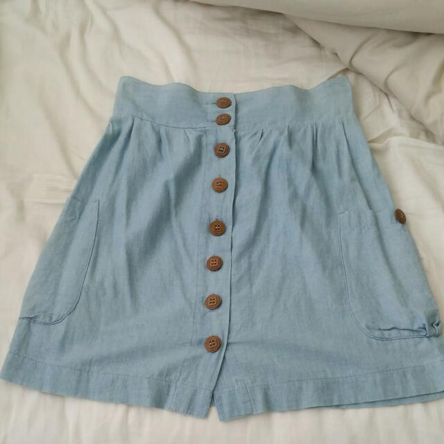 Light Blue Spring Skirt Size 8
