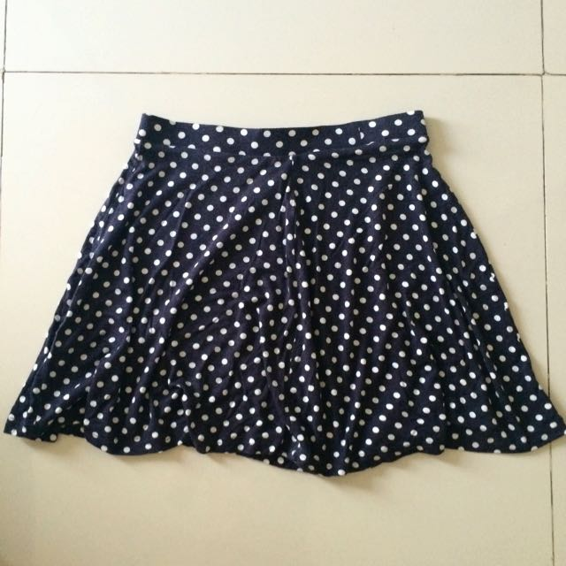 Navy Blue Polkadot Flowy Skirt