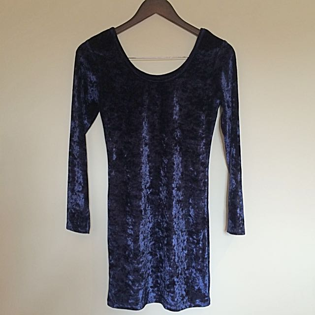 Navy Blue Velvet Bodycon Dress Long Sleeve