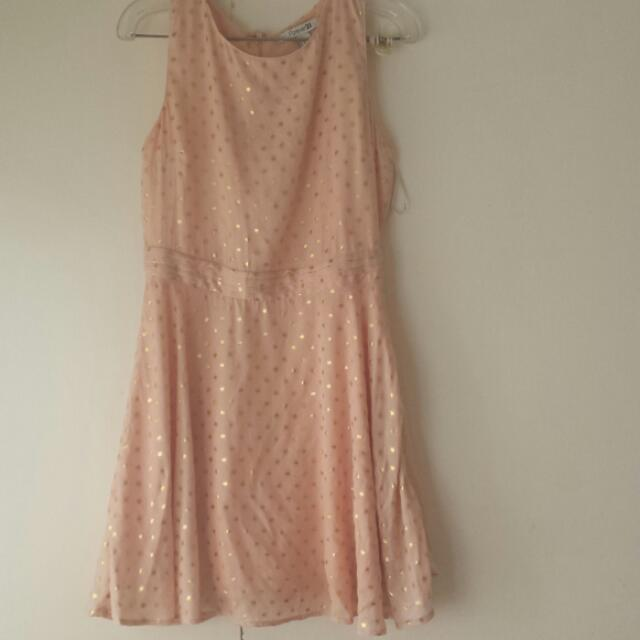 Sheer Pink Dress With Gold Spot