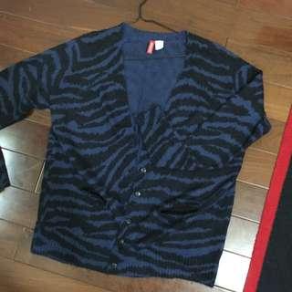 H&M動物紋長版針織外套