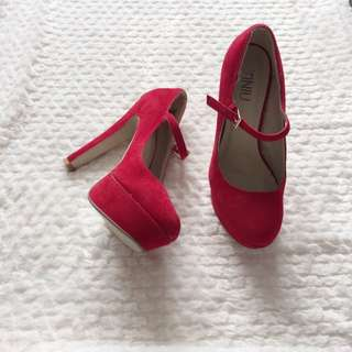 Red Suede Mary-Jane Heels