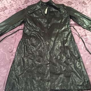 Black leather-look knee length Jacket WITH tags