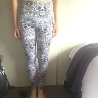 Tights/Leggings With Scull Pattern