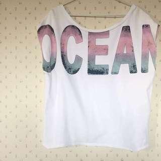(含運)Zara 白色ocean T