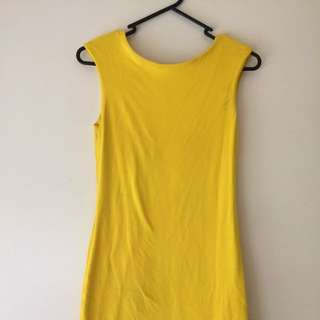 Canary Yellow Scoop Back Dress