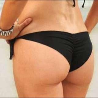 Ruched S/XS Black Bikini Bottoms