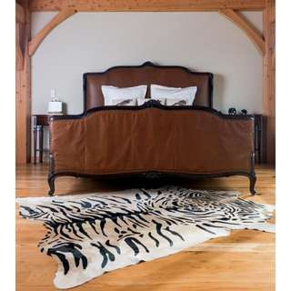Tiger Print Genuine Leather Cowhide Carpet Rug
