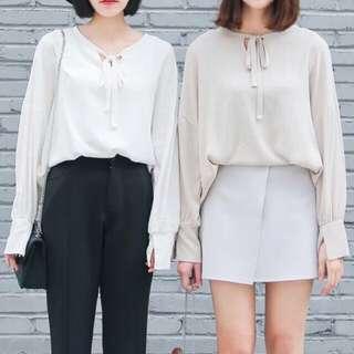 PIUNI [獨家款]超百搭 韓國 小清新 寬鬆蝙蝠袖 繫帶鏤空 棉麻套頭 超柔軟 襯衫