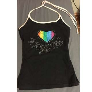 Black and Pink halter top with rainbow heart design [Size M to L]