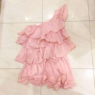 Nudy Pink Ruffle Dress