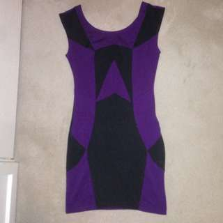 Dark Purple & Black, Low Back Dress -ICE