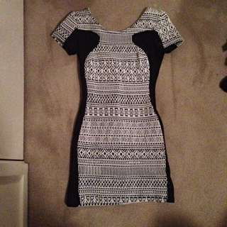 Black & White Low Cut Dress -ICE