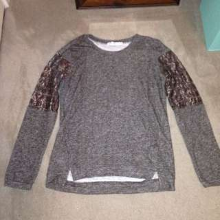 Grey With Brown Lace Jumper