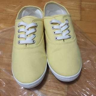 {二手}GU 鵝黃色 帆布鞋