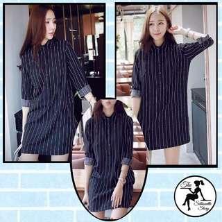 [AW025] Striped Long Sleeve Dress