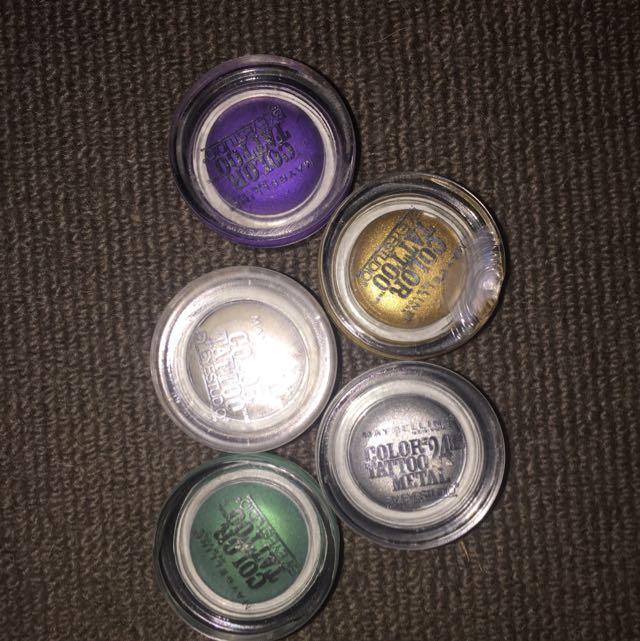 5x Colour Tattoo MAYBELLINE eye Shadows $44+