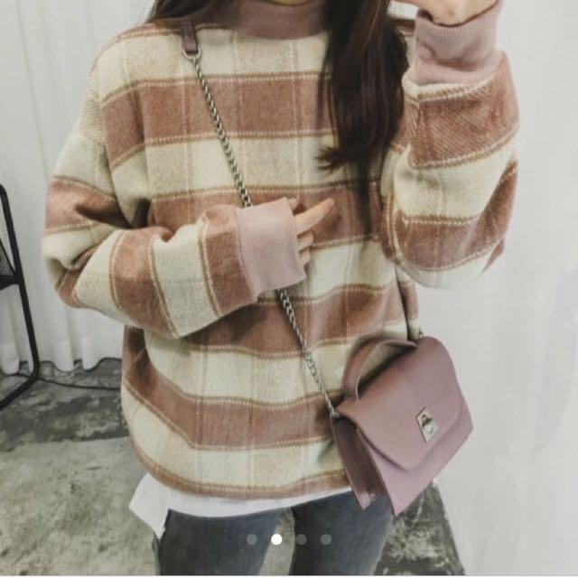 (二手)格子微高領毛衣