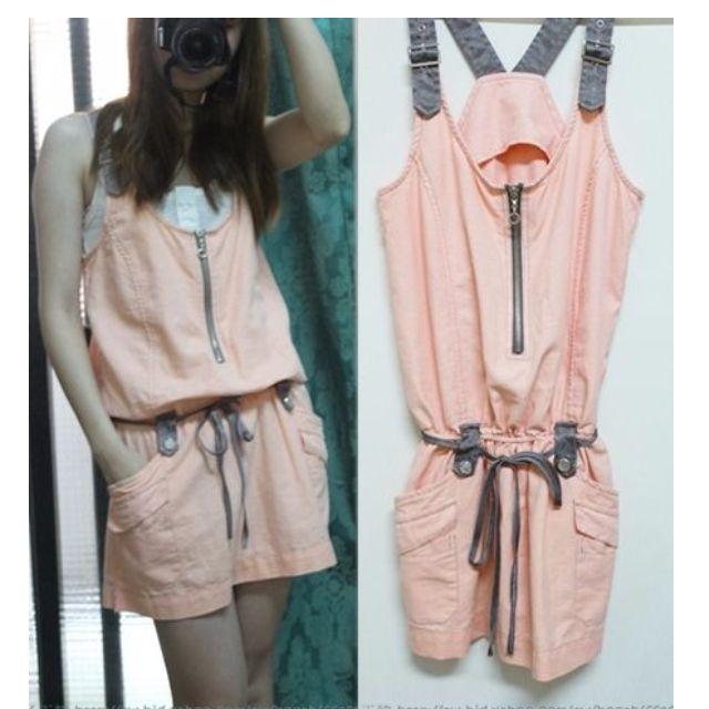 轉賣韓國縮腰綁帶造型粉橘色連身裙