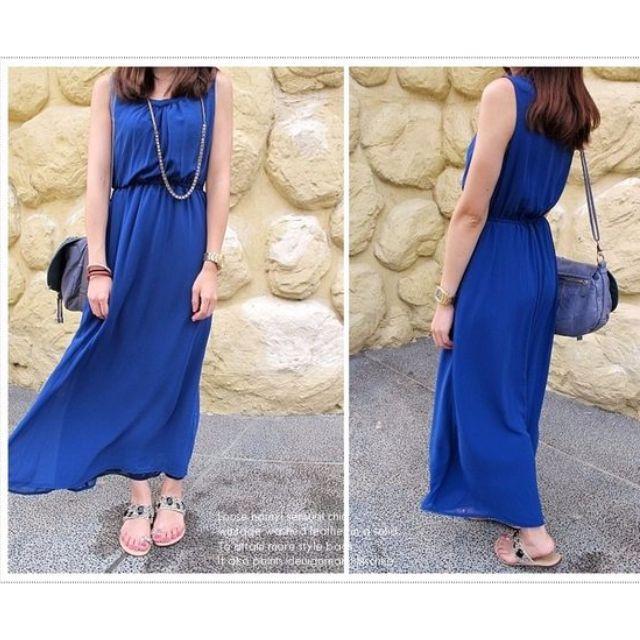 轉賣韓國縮腰造型寶藍色雪紡紗長洋裝