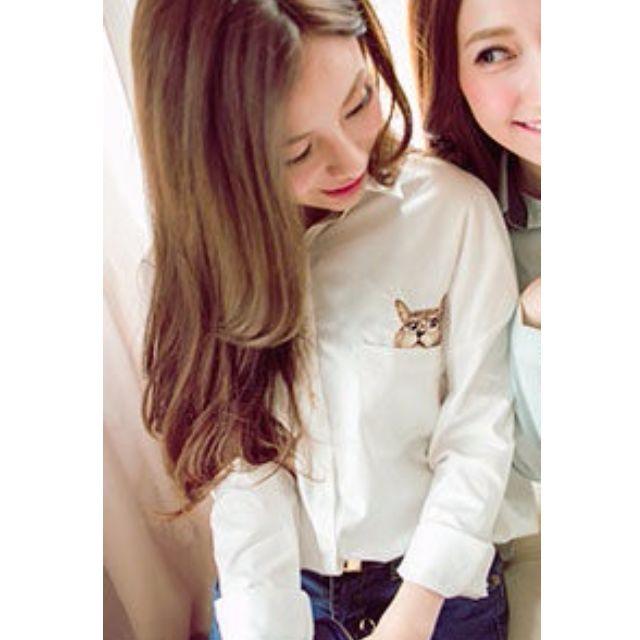 轉賣韓國刺繡貓咪口袋造型白色襯衫