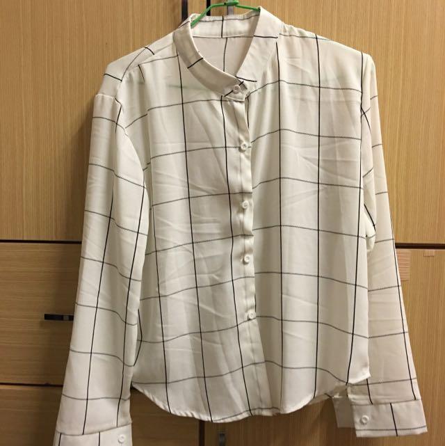 韓版格子雪紡襯衫(全新)