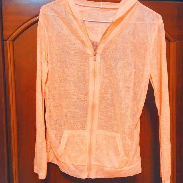 免運‼️螢光橘 拉鍊款微透膚外套