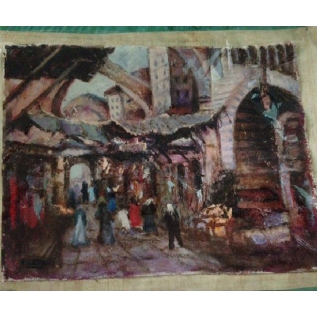 Canvas oil painting -scene from a Middle Eastern Saudi Arabia souq