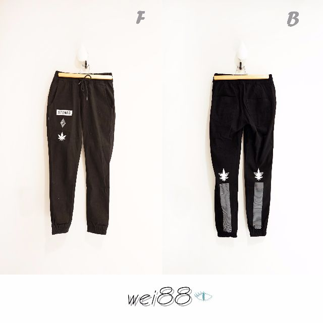 🕓今日特價📢!!!!!全新!!!!! CO&STONED黑色超暗黑 街頭個性風格緊身長褲