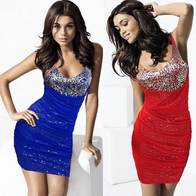 Exquisite sequined party mini-dress [Size S/8] [Red]