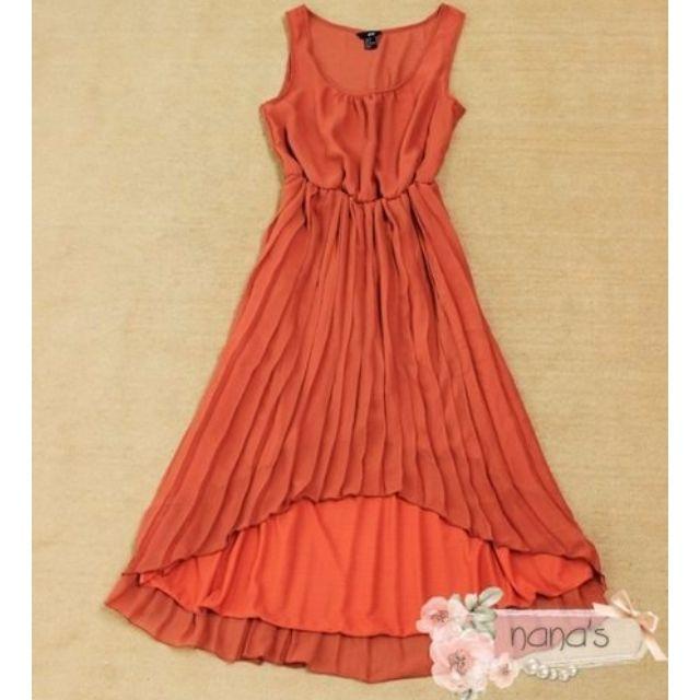 H&M收腰百褶前短後長橘紅色雪紡連身裙