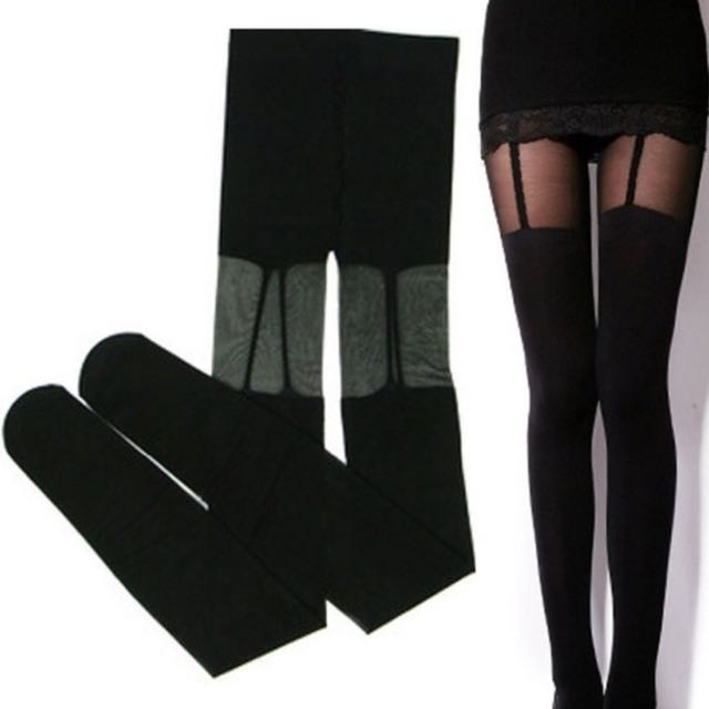Pseudo thigh high black stockings with sexy garter suspender design [Size XS to S]