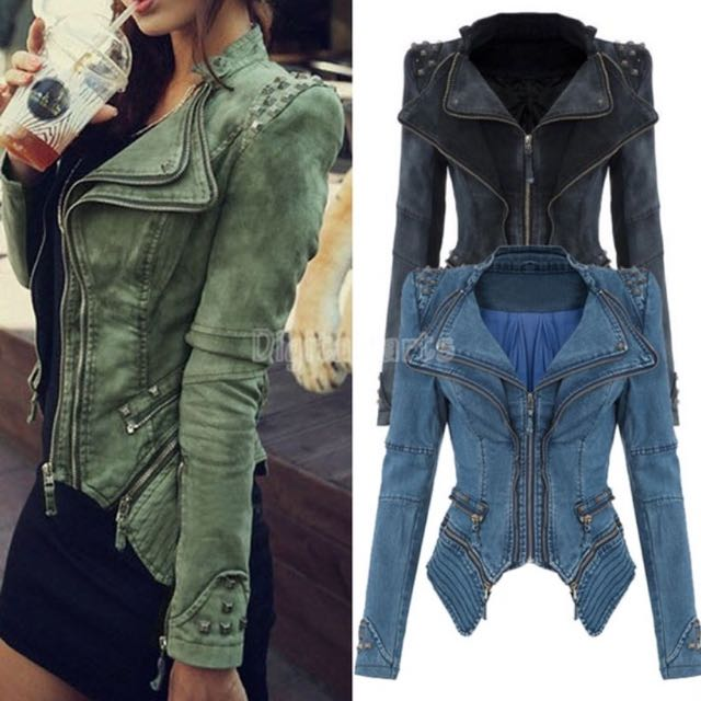 Punk rocker jacket with zipper decorations [Size XL/16 to 18]