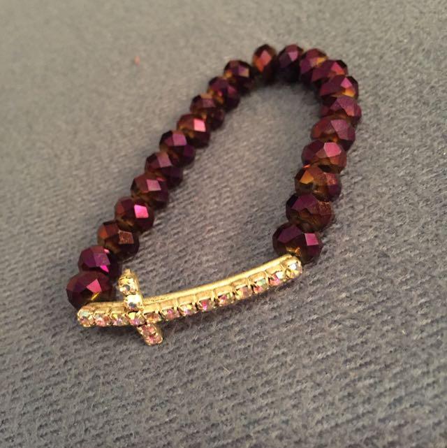 Purple Cross Crystal Bracelet