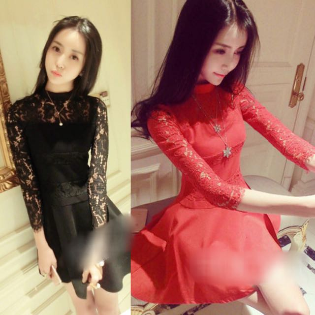9af18d4b2572 Simple Elegant High Neck Korean Style Long Sleeve Parlette Lace ...
